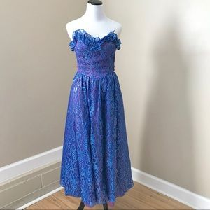 Vintage 80's 90's Electric Blue Strapless Dress